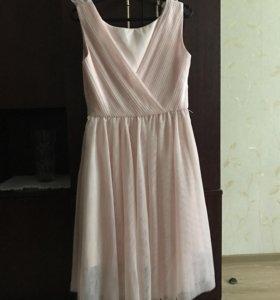 Коктейльное розовое платье