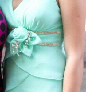 Мятное платье на выпускной!