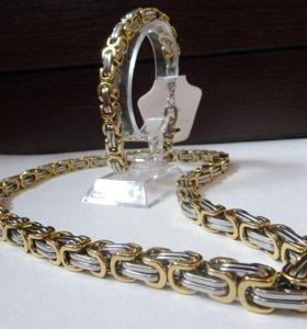 Комплект - мужская цепь и браслет