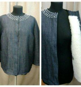 Меховая джинсавая куртка
