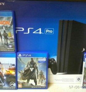 Playstation 4 PRO (1TB) + 4 диска