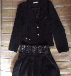 Школьный костюм( пиджак+юбка)