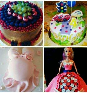 Торты кукла,рыба,на юбилей,детские торты