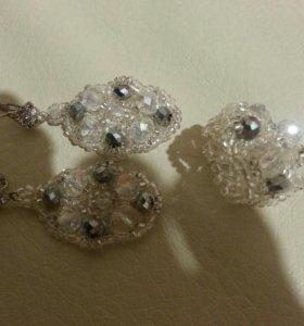 комплект из бисера серьги и кольцо