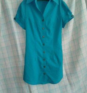 Рубашка женская бирюзового цвета