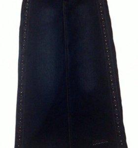 Длинная,джинсовая юбка
