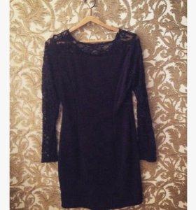 48-52 Кружевное чёрное платье