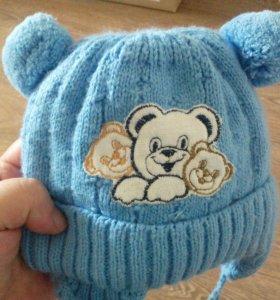 Зимняя шапочка на мальчика от 1 до 5 месяцев
