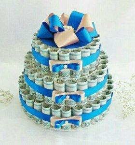 Денежные  торты на свадьбу, юбилей.