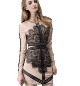 Платье кружевное бежевое чёрное