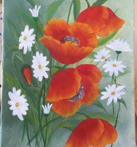"""Картина маслом на холсте 30х40 """"Весенние цветы"""""""