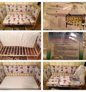 Новая Кровать-маятник+матрас+комплект постельного