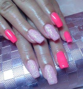 Наращивание в розовом цвете!