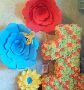 Единичка и цветы для д/р
