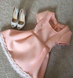 Новое кукольное розовое платье