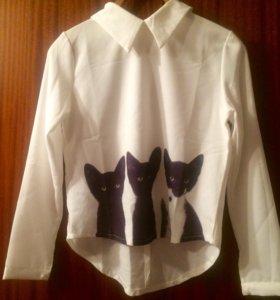 Блузка с кошками новая