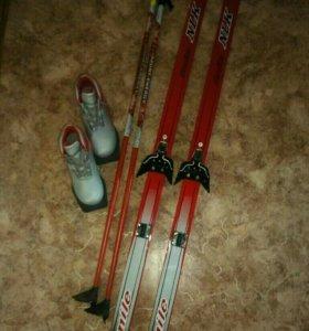 Лыжи беговые деревянные