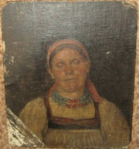 Картина старинная портрет крестьянки