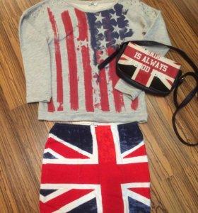 Толстовка, юбка и сумка с принтом флагов