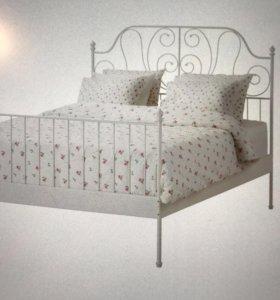 Кровать IKEA+реечное дно+матрас 180x200.