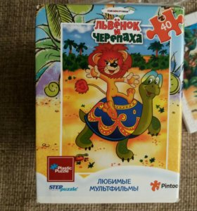 Пазлы мозаика puzzle львенок и черепаха