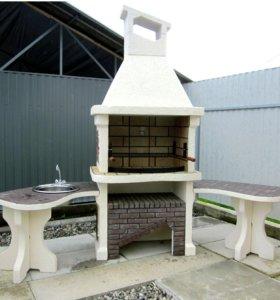 Барбекю мангал с угловыми столами