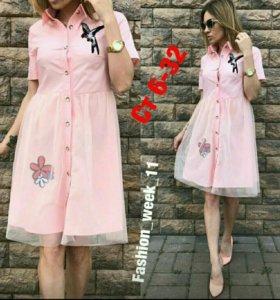 Новое платье в белом цвете и в персиковом