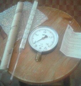 Манометр и спиртовой термометр