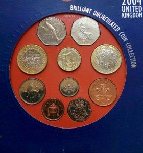 Подарок на новый год Набор монет Англия 2004 год
