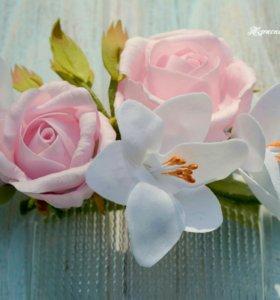 Броши и заколки из цветов ручной работы