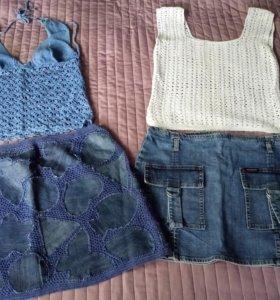 Джинсовые юбки и вязанные топы