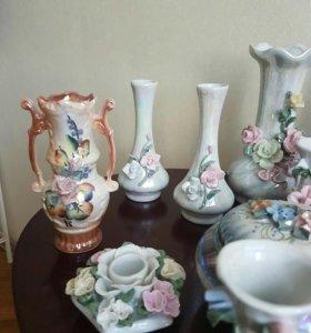 Фарфоровые вазочки и шкатулки