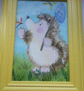 Картина ежик с бабочкой в рамке