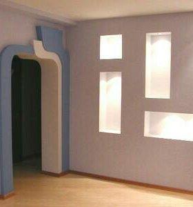Монтаж потолков и стен из гипсокартона