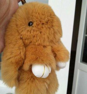 💖 Кролик меховой, брелок, 15 см.
