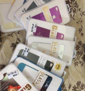 Стекло защитное iPhone 4s, 5, 5s, 6, 6 plus