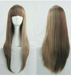 Новый парик темно-русый прямые волосы