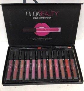 Набор huda beauty 12 матовых блесков + 2 карандаша
