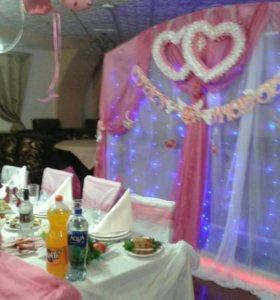 Свадебная арка, украшения для стола молодожёнов