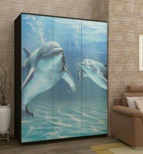 Шкаф 3* ств. дельфин