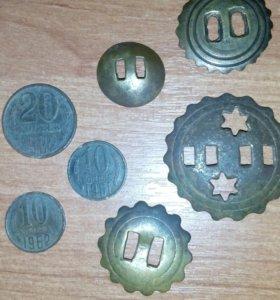 Монетки и элементы конский сбруй