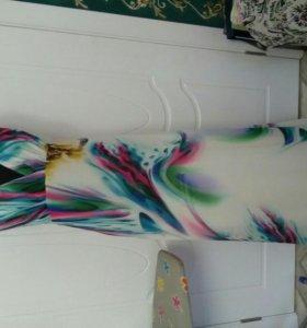 Платье шифоновое в пол. Размер 46