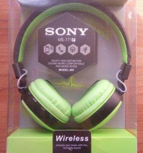 Наушники блютус Sony MS771F черно-салатовые