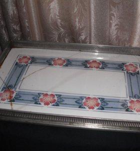 Старинный поднос фарфор - роспись
