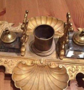 Чернильница бронза с позолотой 19вв