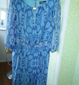 Платье шифоновое голубое