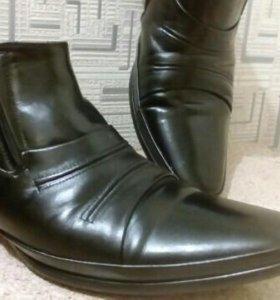 Ботинки на меху кожа