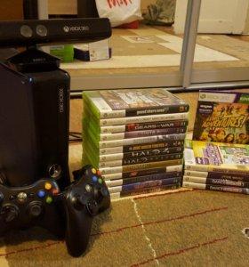 Xbox 360+kinect+жест. д. 320 Гб+18 игр+2джойстика