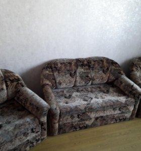 Диван раскладной +2 кресла раскладных