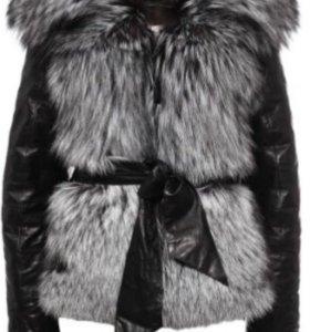 Кожаная куртка (жилетка) с мехом чернобурки
